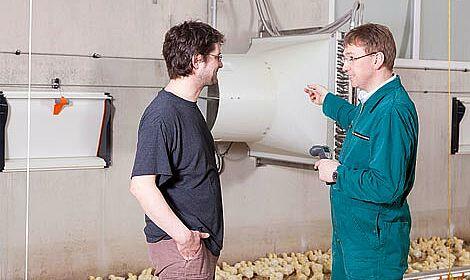 Un bâtiment d'engraissement de poulets de chair équipé pour des températures optimales