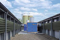 Échangeur de chaleur entre deux bâtiments d'élevage de poulets de chair