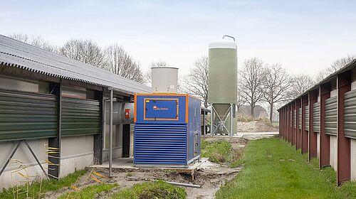 Laveur d'air compact et facile à monter pour l'engraissement de poulets de chair