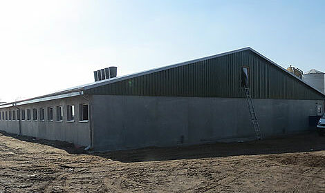 Nouvell porcherie pour l'élevage de porcelets avec des équipements de bâtiment et des systèmes pour l'alimentation sèche ainsi que le climat du bâtiment
