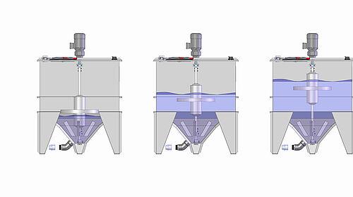 Alimentation soupe : L'agitateur à flotteur mobile s'adapte automatiquement au niveau de remplissage dans la citerne de mélange
