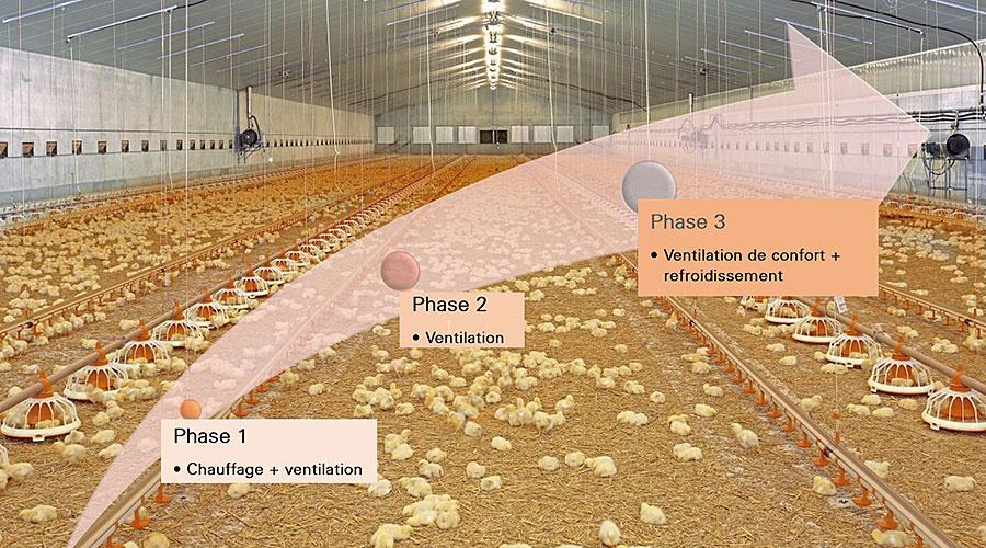 Visualisation de la ventilation à plusieurs phases
